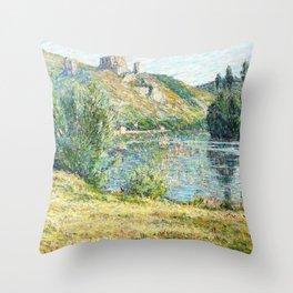 Ruins of Chateau Gaillard, The Seine River - Digital Remastered Edition Throw Pillow