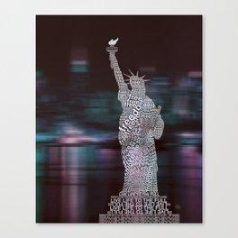 Typographic Statue of Liberty Canvas Print