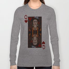 Frida Kahlo, reina de corazones II Long Sleeve T-shirt