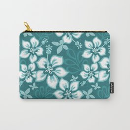Aqua Teal Turquoise Hawaiian Hibiscus Flower Bloom Pattern - Aquarium SW 6767 Carry-All Pouch