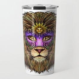 Mardi Gras | Pride Lion With Cute Mask Travel Mug