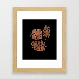 Bronze Monstera Leaves Framed Art Print