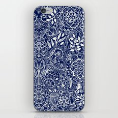 Detailed Floral Pattern in White on Navy iPhone & iPod Skin