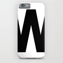 Letter W (Black & White) iPhone Case