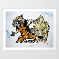 rocket raccoon Art Prints featuring Rocket Raccoon and Groot by artbyteesa
