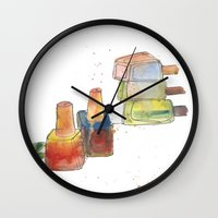 nail polish Wall Clocks featuring Nail Polish by Alia