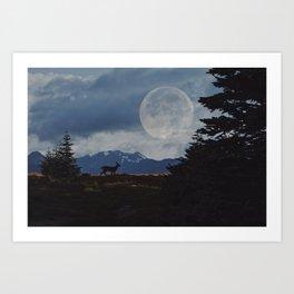 Deer Under The Moon Art Print