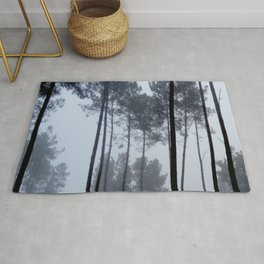 Fog and Forest III-wood,mist,romantic, greenery,sunset,dawn,Landes forest,fantasy Rug
