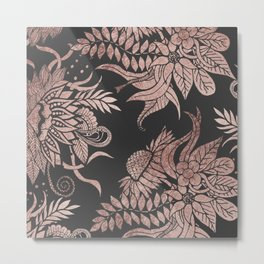 Chic Rose Gold and Black Floral Drawings Metal Print