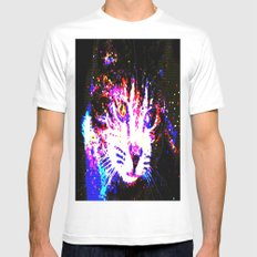 Galaxy Cat MEDIUM White Mens Fitted Tee