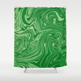 Green pastel abstract marble Shower Curtain