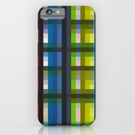 colorful striking retro grid pattern Nis iPhone Case
