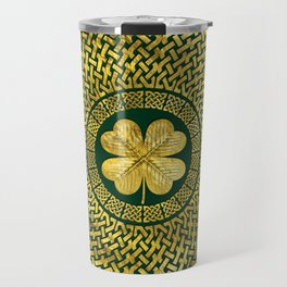 Irish Four-leaf clover with Celtic Knot Travel Mug