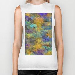 psychedelic painting abstract pattern in yellow brown blue Biker Tank