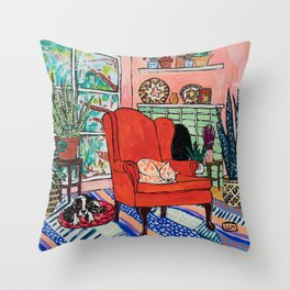 Red Armchair in Pink Interior with Houseplants, Ginger Cat, and Spaniel Interior Painting Throw Pillow