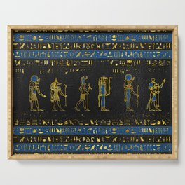 Golden Egyptian Gods and hieroglyphics on leather Serving Tray