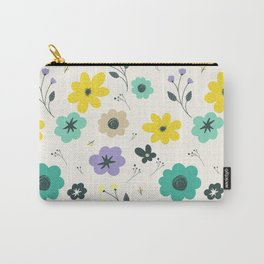 Modern ivory lime green teal violet floral illustration Carry-All Pouch