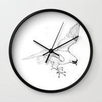 falcon Wall Clocks featuring Falcon by Colleen