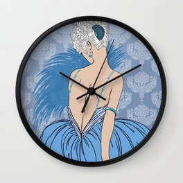 Art Deco Lady with Damask - BIANCA: Blue Monday Wall Clock