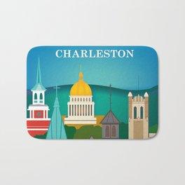 Charleston, West Virginia - Skyline Illustration by Loose Petals Bath Mat