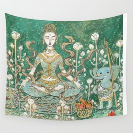 Parvati meditating with Ganesha Wall Tapestry