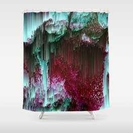 Amoeba - Abstract Glitchy Pixel Art Shower Curtain
