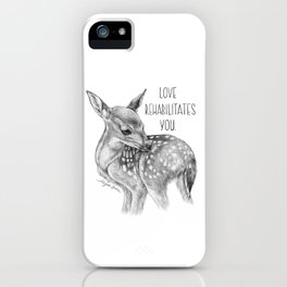 Deer Illustration By Magda Opoka | Animal | Black and White | bw | black-and-white | Animals iPhone Case