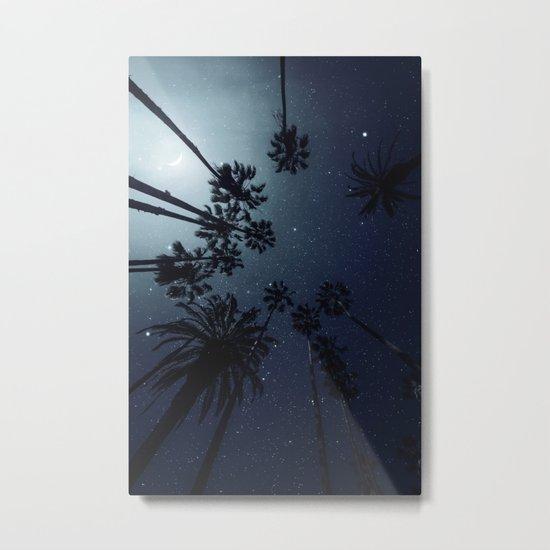 Palm Trees, Night Sky, Stars, Moon Metal Print
