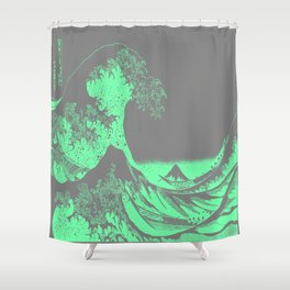 gray and green shower curtain. The Great Wave Green  Gray Shower Curtain Hokusai Curtains Society6