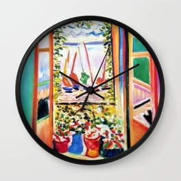 The Open Window Coastal - Floral and Maritime Collioure oil painting by Henri Matisse oil paint Wall Clock