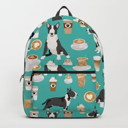 Bull Terrier coffee latte cafe dog breed cute custom pet portrait pattern Backpack