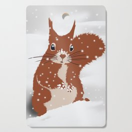Red squirrel in the winter snow with white snowflakes cute home decor nursery drawing Cutting Board