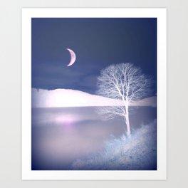 Moon night on the lake Art Print