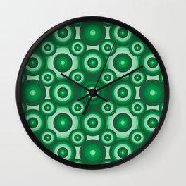Green Monochrome Geoemetric Pattern Wall Clock