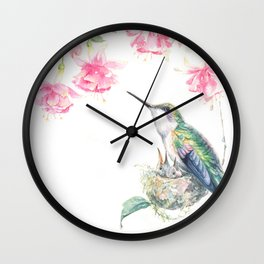 Guardian - watercolor hummingbird with nest Wall Clock