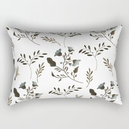 Bluebells and Bluebirds Floral Pattern Flowers in Blue and Bark Brown Rectangular Pillow