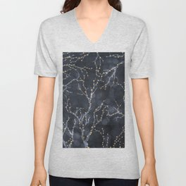Tree branches with Christmas light pattern Unisex V-Neck