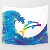 hokusai Wall Tapestries featuring Hokusai Rainbow & dolphin_C by FACTORIE