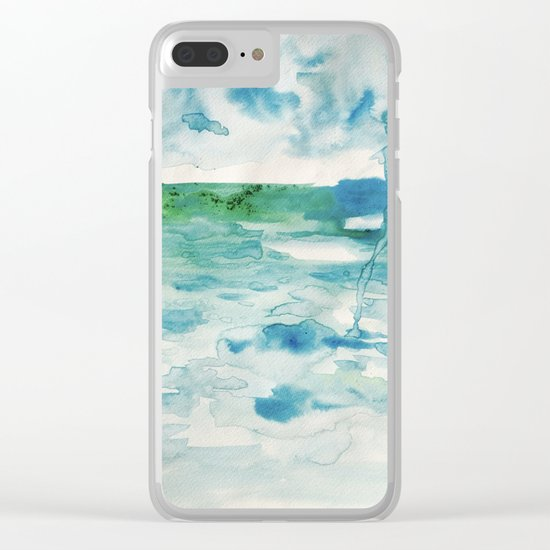 Miami Beach Watercolor #2 Clear iPhone Case