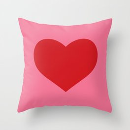 Red Heart on Pink Throw Pillow