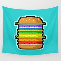 hamburger Wall Tapestries featuring Pixel Hamburger by Sombras Blancas Art & Design