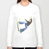 skateboard Long Sleeve T-shirts featuring Skateboard 4 by Aquamarine Studio