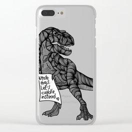 T-Rex hates hugs Clear iPhone Case
