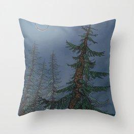 Forest Moonlight Throw Pillow