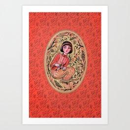 Hidden place - forest girl Art Print