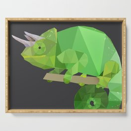 Low Poly Chameleon Serving Tray