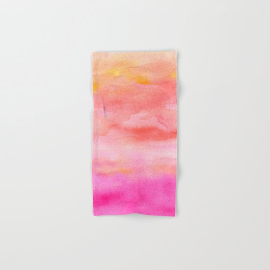 Bright pink orange sunset watercolor hand painted Hand & Bath Towel