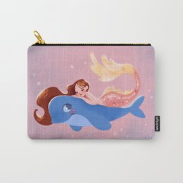 Sleepy Mermaid on a Baby Whale Carry-All Pouch