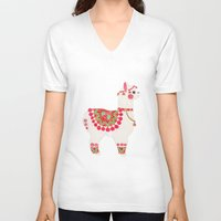 alpaca V-neck T-shirts featuring The Alpaca by haidishabrina
