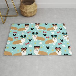 Corgi theme park lover dog breed pattern gifts Rug